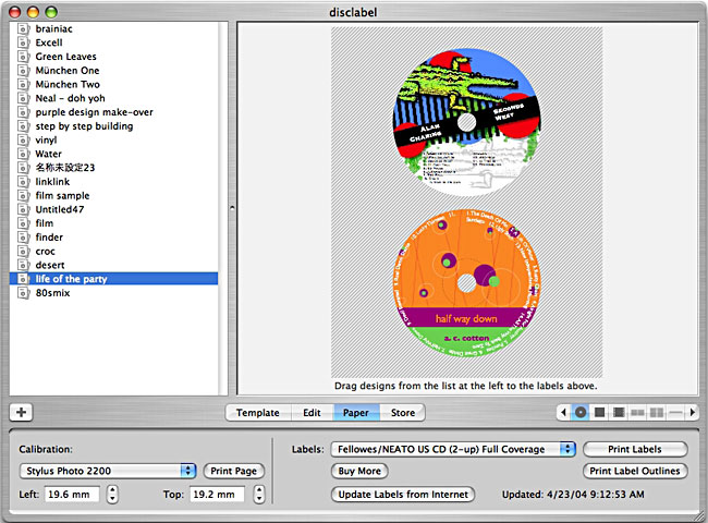 Macintosh software disc label os x for Fellowes neato cd label template